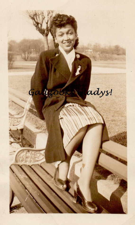1940's african american woman in coat vintage image