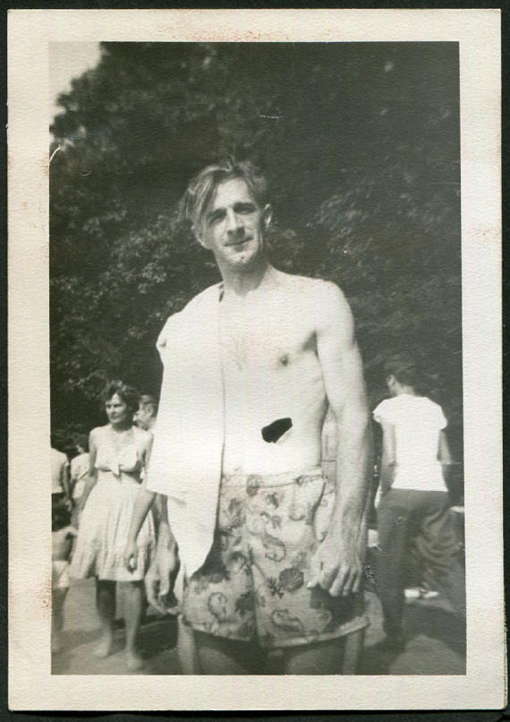 1940s man in a swimsuit vintage image