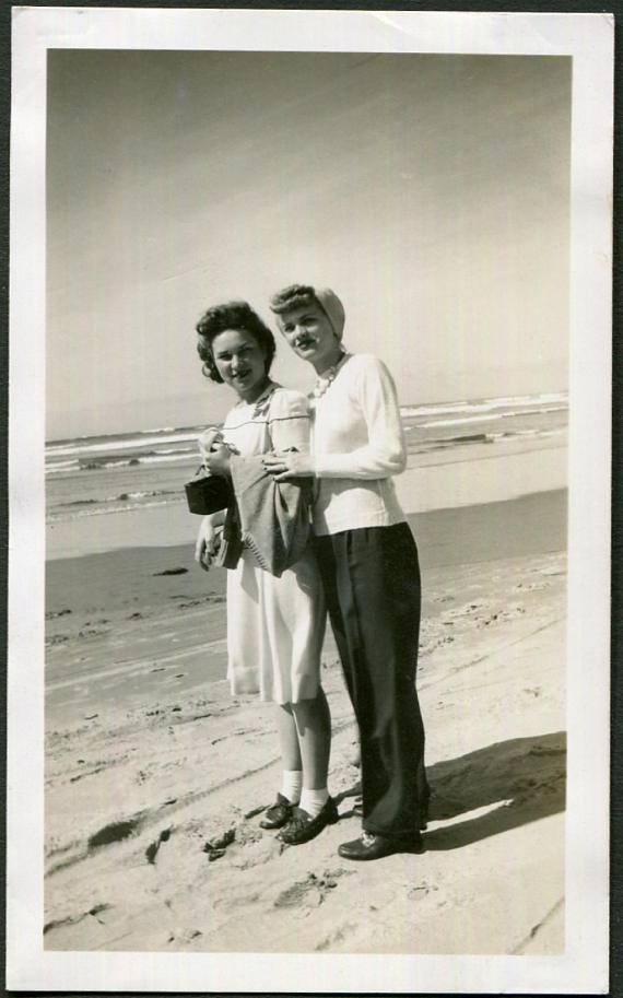 Vintage Photo of Two Friends at Cannon Beach, Oregon, 1940's