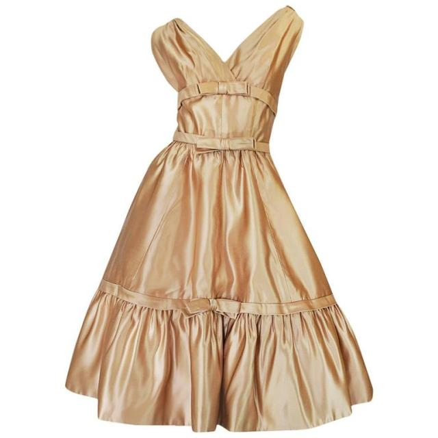 1950s New Look Christian Dior Gold Silk Bow Dress