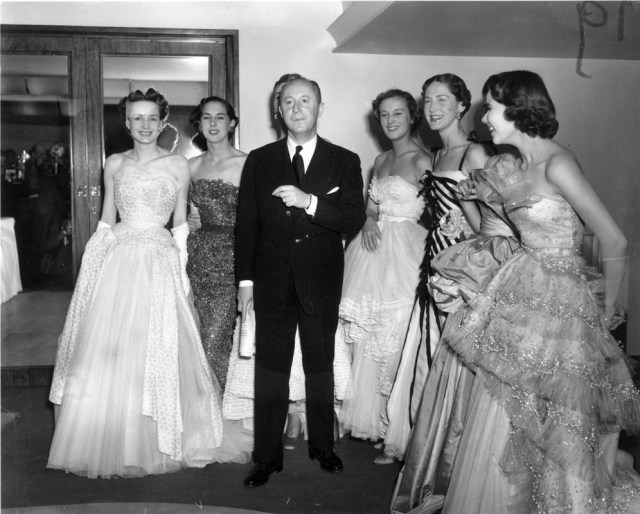Christian Dior with models, c.1950