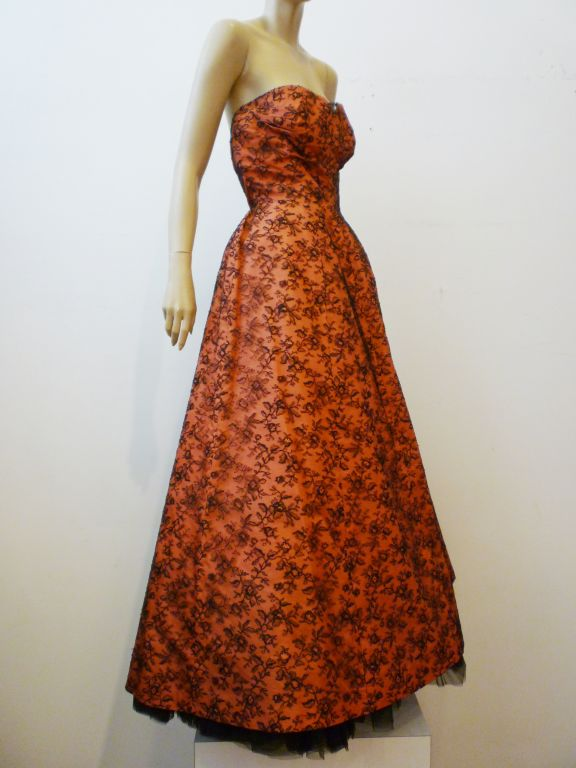Couture Dior 1950s Silk Taffeta and Lace Ballgown