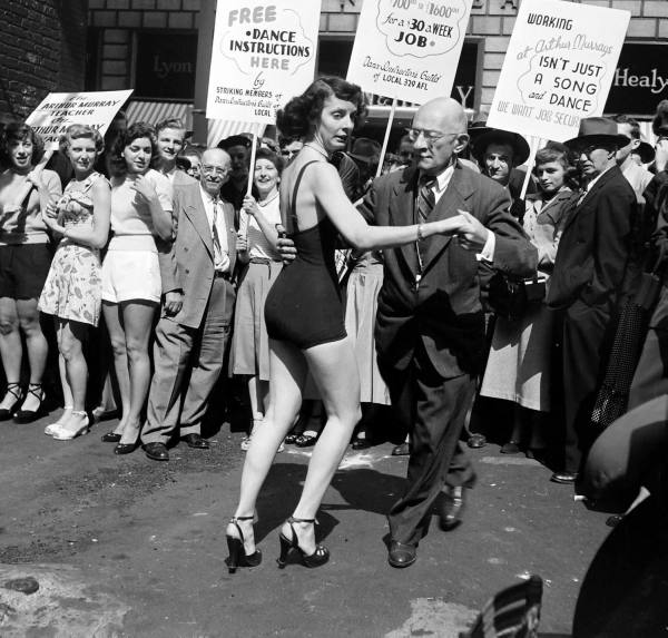 LIFE Dancing Teachers Strike Sept 9th, 1949 Vintage Image