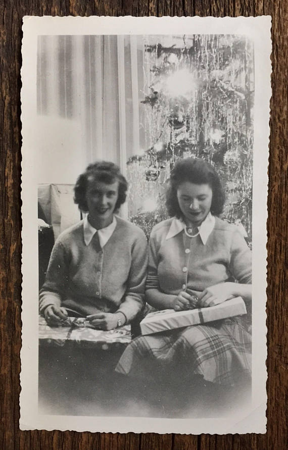 1940s vintage image of two women at christmas