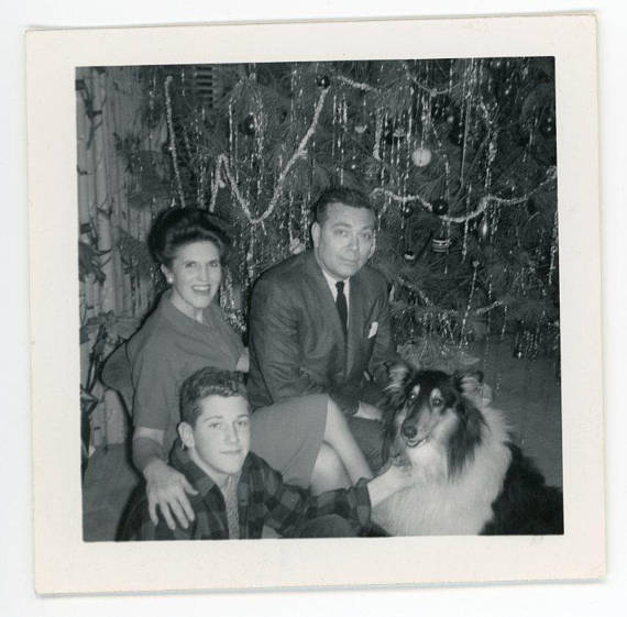 Family Portrait by the Christmas Tree 1950s Vintage Photo