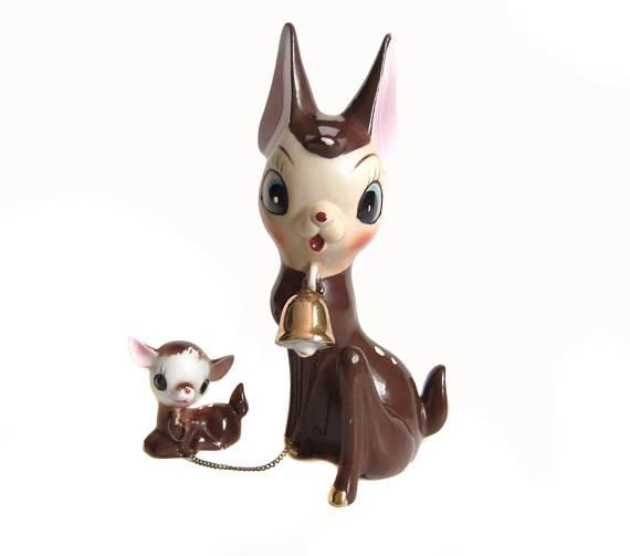 1950's Vintage Reindeer figurine mom and baby