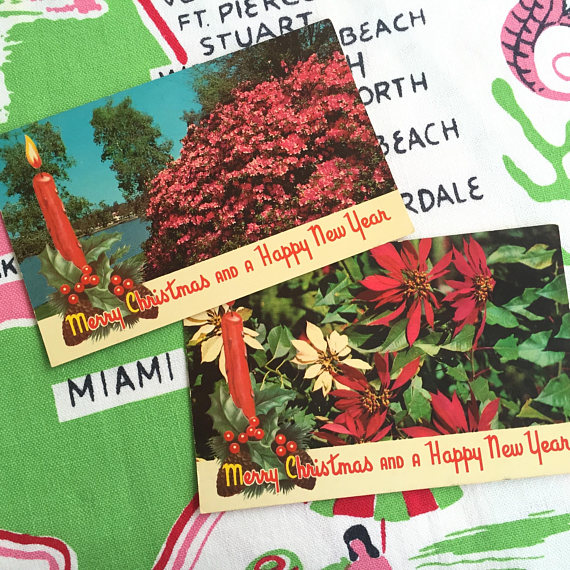 Vintage Florida Christmas postcards set of 2 1950s