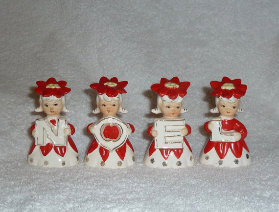 Vintage Noel Poinsettia Bells Girls Lipper Mann Christmas w/box Figurine