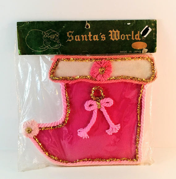 Vintage Pink & Gold Felt Stocking Christmas Card Holder
