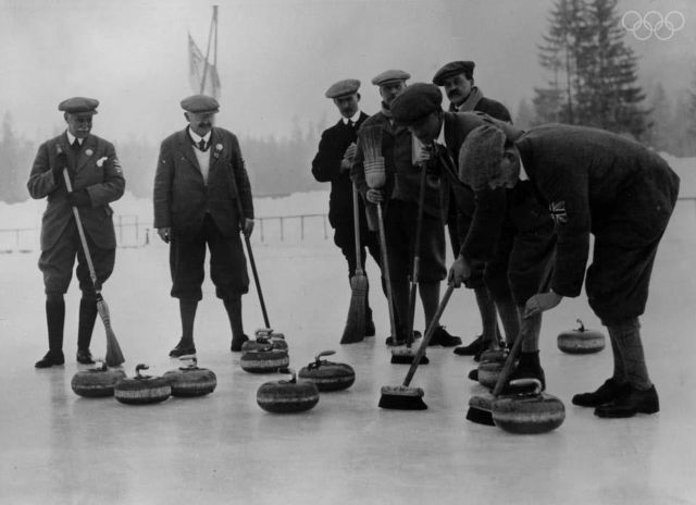 28th January 1924 The British Curling team during the Winter Olympics at Chamonix, France.