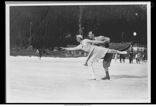 BRUNET, Pierre, Chamonix 1924 France, Figure skating, Winter Olympics Vintage Image