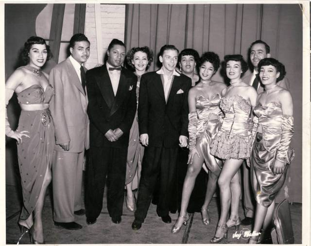 Group photograph of entertainers at the Dunes, including Anna Bailey and Frank Sinatra via UNLV