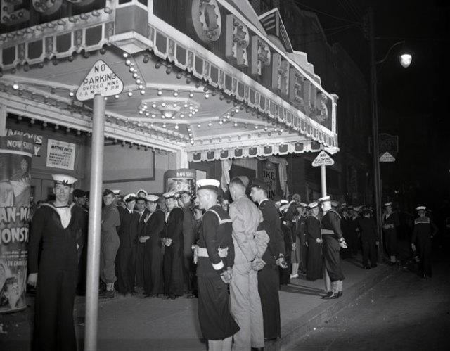 Service personnel and civilans at Orpheus movie theatre Barrington Street, Halifax