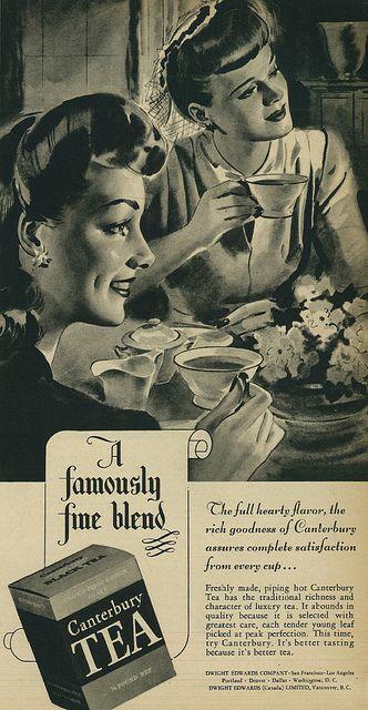Illustrated Vintage Canterbury Tea Advertisement, 1944