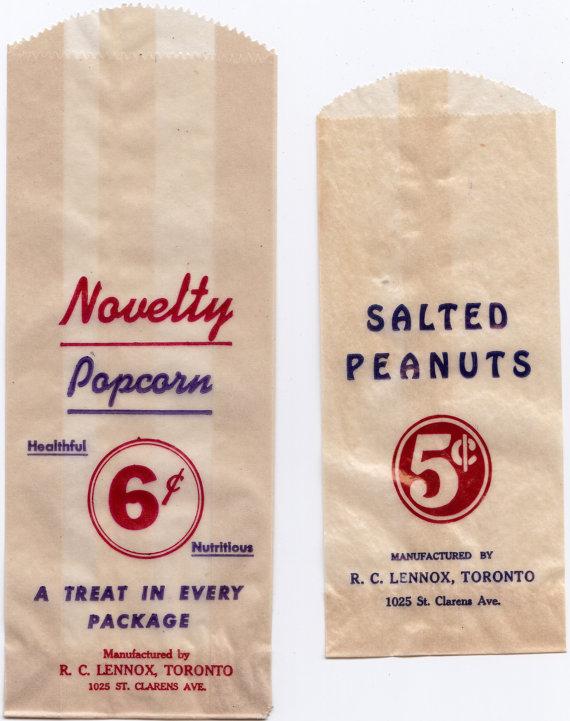 RARE Vintage 1930s Novelty Popcorn & Salted Peanuts Glassine Bags - Toronto Made, Used at Maple Leaf Stadium
