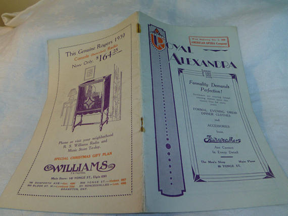 Royal Alexandra theatre toronto vintage program 1929