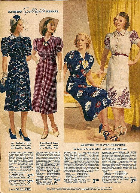 Sears & Roebuck spring and summer 1938 womens dresses vintage