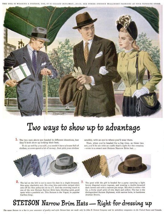 Vintage Stetson Hat 1940s vintage mens clothing ad