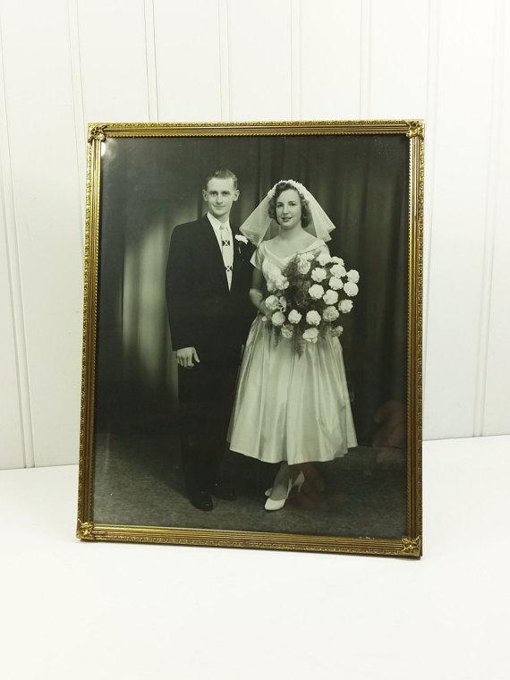 1950s bride and groom vintage photo