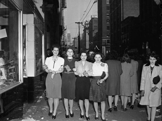 Celebrating VE Day on Bay Street in Toronto vintage photo of 4 women