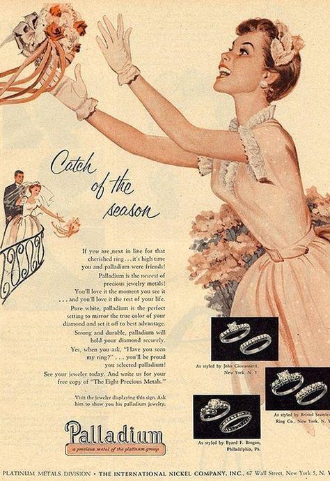 Palladium wedding rings advert from the 1950s