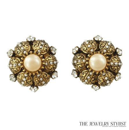Vintage Toledo-style Rhinestone Pearl Clips