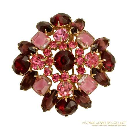 Juliana (Deizza & Elster) Brooch Set Siam Red and Pink