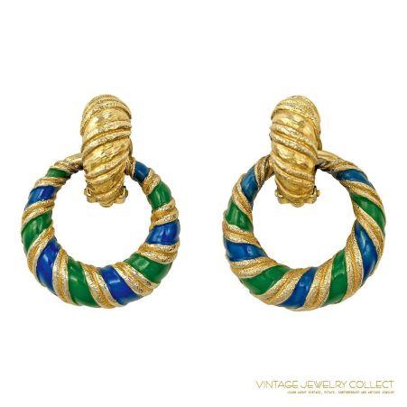 Fab Blue and Green Enamel Jomaz Door Knocker Earrings