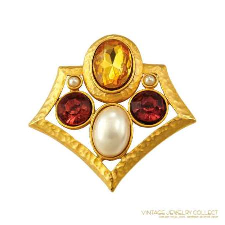 Vintage TAT Brooch With Rich Jewel Tone Colors