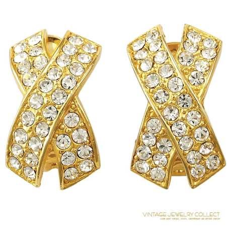 "1980s ""X"" Motif Rhinestone Earrings in Gold-colored Metal with 34 Rhinestones"