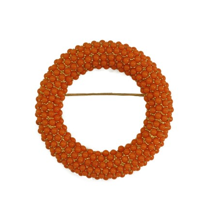 Large 1960s Vintage Open Circle Pin with Faux Coral Stones