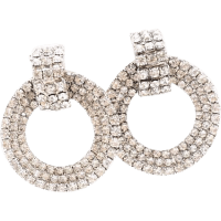 Rhinestone Dangling Hoop Earrings