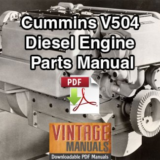 Cummins V504 Diesel Engine Parts Manual