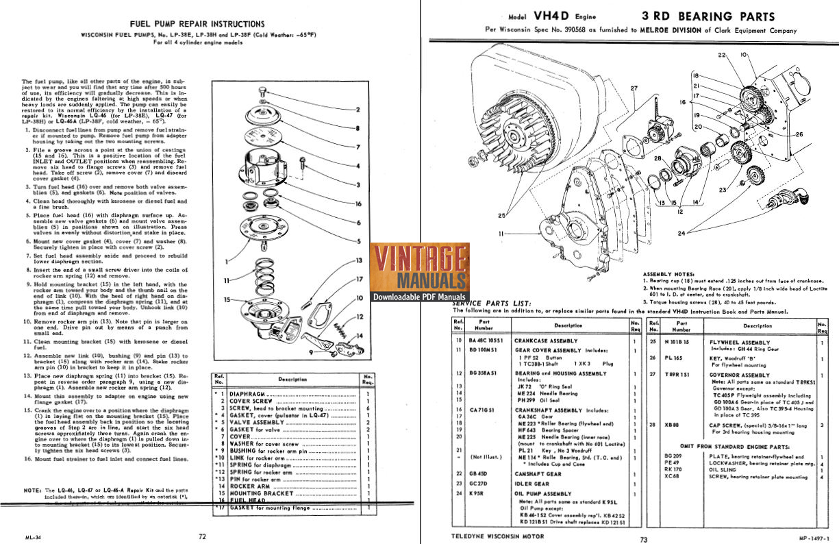 wisconsin vh4  vh4d gas engine shop service manual