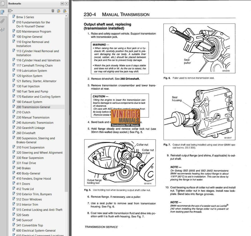 1992-1998 BMW 318, 323, 328, M3 (e36) Service Manual