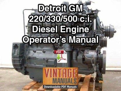 Detroit GM Bedford 220, 330, 500 Diesel Engine Operator's Manual