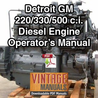 Detroit GM Bedford 220, 330, 500 Diesel Engine Operator's Manual