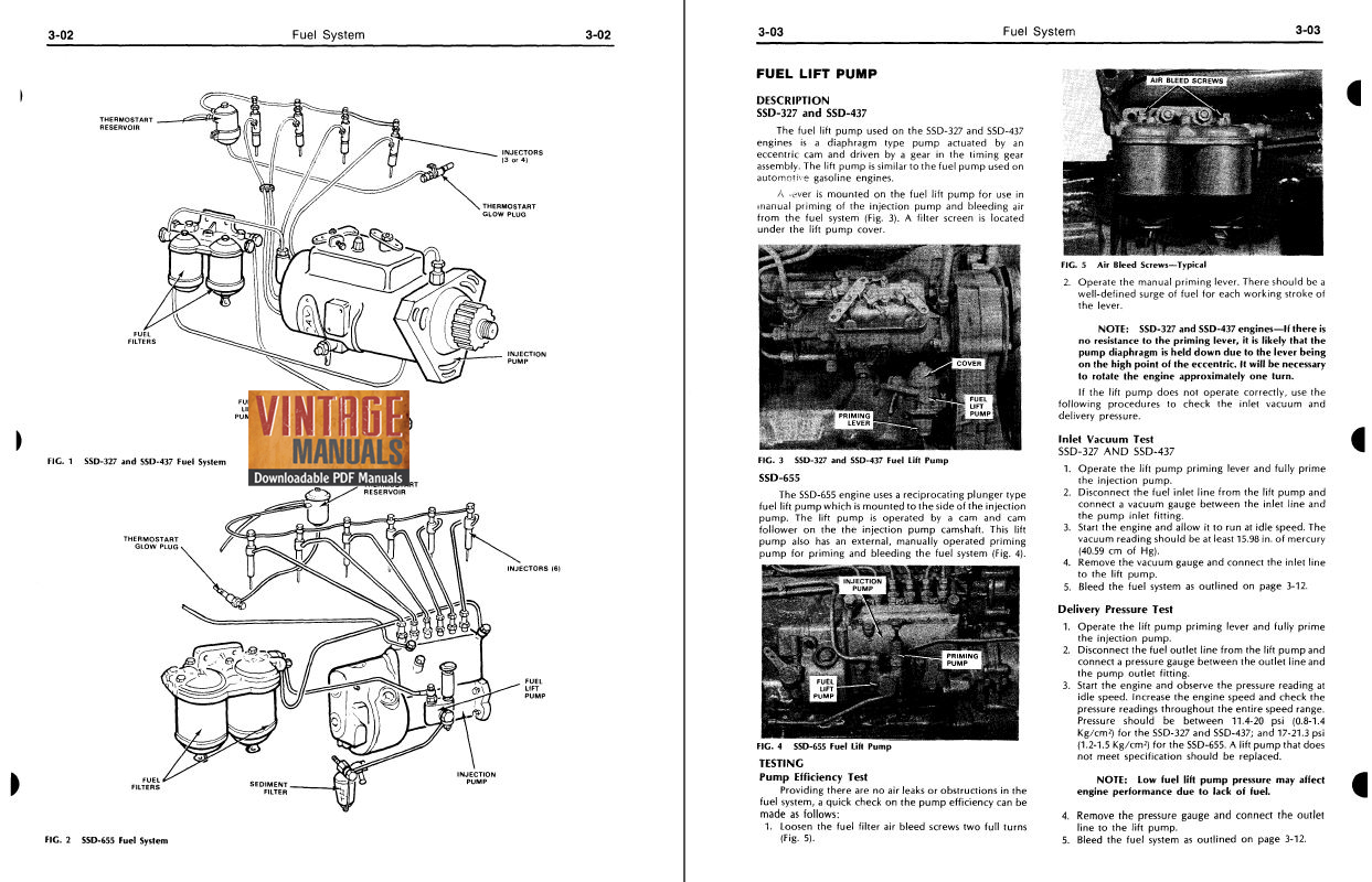 Ford SSD-327, SSD-437, SSD-655 Diesel Engine Shop Manual
