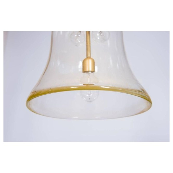 Italian Chandelier Bell Jar In Murano Glass Transpa And 24 Carat Gold