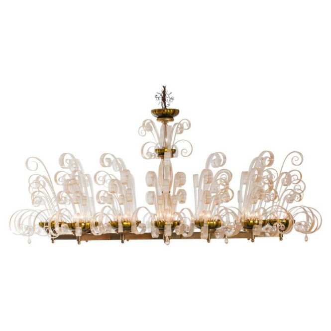 Italian Gold Fountain Chandelier In The Style Of Ercole Barovier Circa 1950s