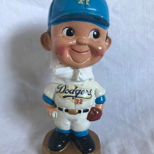 LA Dodgers #32 MLB Extremely Scarce Flat Cap Nodder 1968 Vintage Bobblehead Gold Base