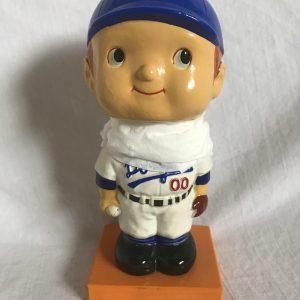 LA Dodgers Unique Face Extremely Scarce Wood Base Nodder 1960 Vintage Bobblehead