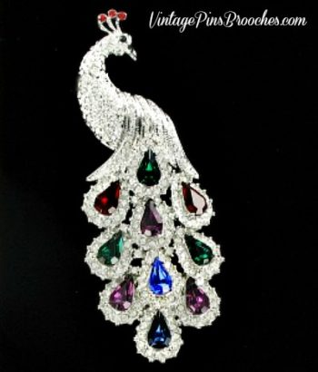 fdd13168142 Vintage Pave Diamond Ruby Emerald Sapphire Amethyst Rhinestone Peacock Pin  Brooch, Peacocks Ladies Designer Jewelry