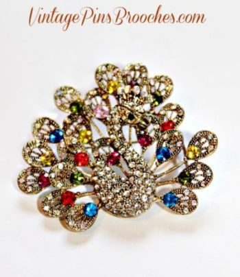 53e5b70c622 Filigree Rhinestone Peacok Brid Brooch Pin, Animal Peacocks Pin, Wedding  Bridal Designer Jewelry,