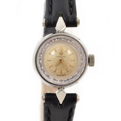 Omega Diamond Cut Stainless Steel Hand wind Ladies Watch