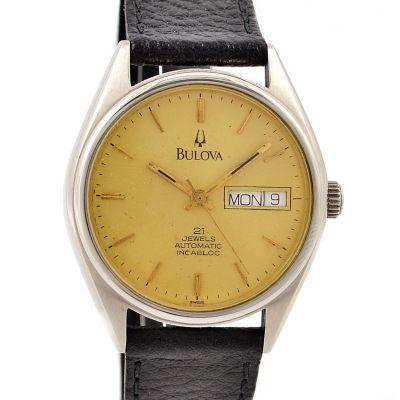 Vintage Bulova Incabloc Stainless Steel Mens Automatic Midsize Watch