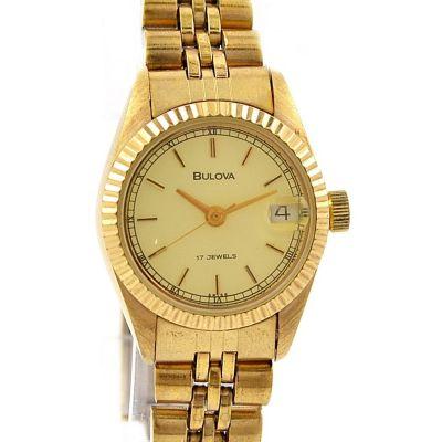 Bulova Date Gold plated Hand WindLadies Watch