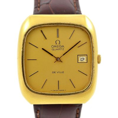 Vintage Omega De Ville Quartz Cal.1325 Gold Plated Mens Watch date
