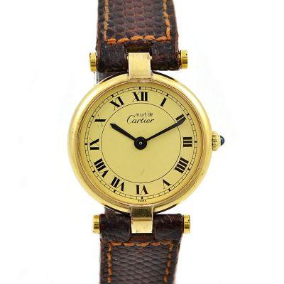 Vintage Must De Cartier Vermeil Quartz 925 Gold Plated Ladies Watch silver