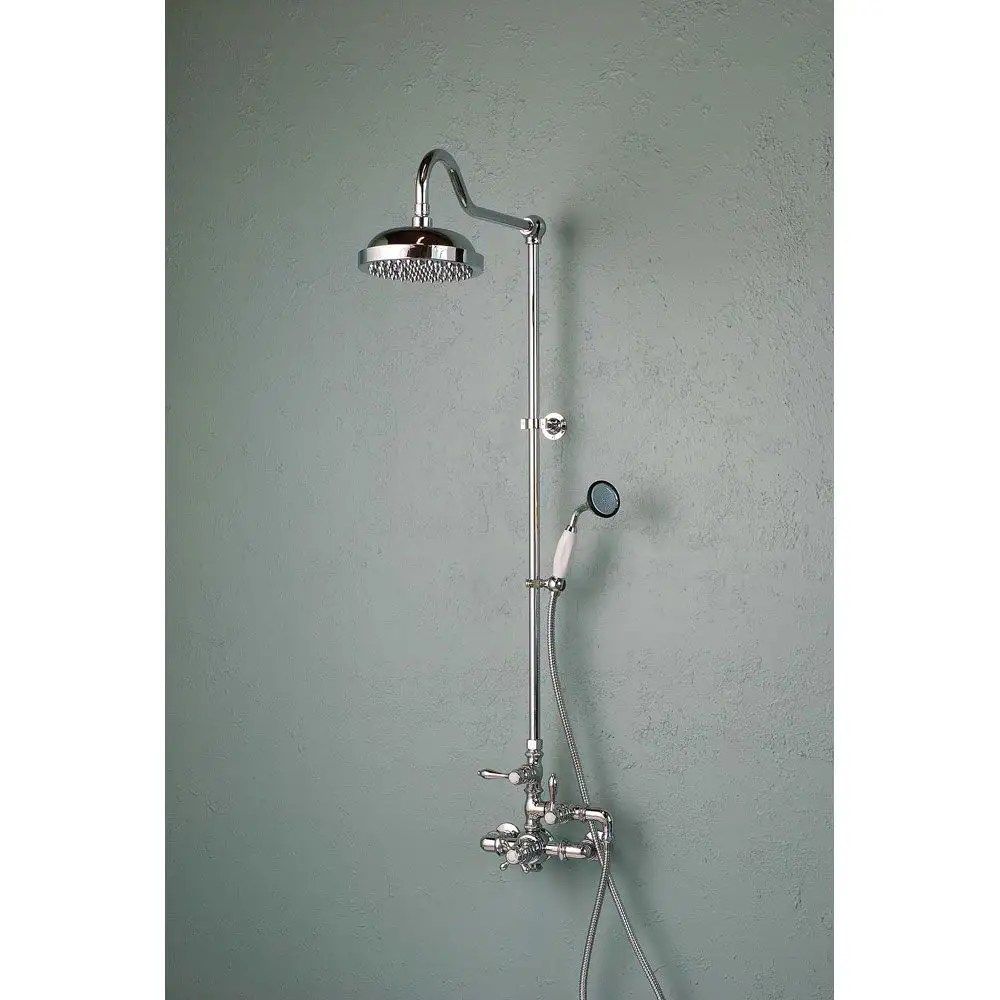 exposed wall mount thermostatic shower faucet with handshower